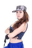 Beautiful sexy girl wearing military cap and crop Stock Photography