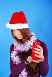 Beautiful sexy girl wearing santa claus clothes. Royalty Free Stock Images
