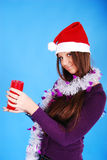 Beautiful sexy girl wearing santa claus clothes. Stock Images