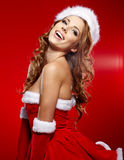 Beautiful sexy girl wearing santa claus clothes Stock Photography