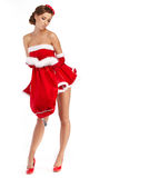 Beautiful sexy girl wearing santa claus clothes Royalty Free Stock Image
