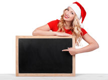 Beautiful girl wearing santa claus clothes, christmas conce stock photos