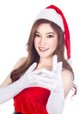Beautiful sexy girl wearing santa claus clothes isolated on whit Stock Image