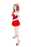 Beautiful sexy girl wearing santa claus clothes isolated on whit Royalty Free Stock Image