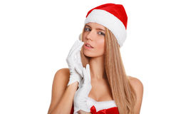 Beautiful sexy girl wearing santa claus clothes, isolated on white background Royalty Free Stock Image