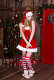 Beautiful girl wearing santa claus clothes in new year interior. Young female posing in christmas dress, hat and Royalty Free Stock Photo