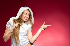 Beautiful sexy girl wearing santa claus Stock Images