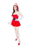 Beautiful sexy girl wearing santa claus clothes  on whit Stock Photos
