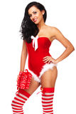 Beautiful sexy girl wearing santa claus clothes Royalty Free Stock Photography
