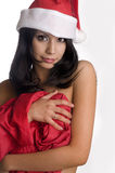 Beautiful sexy girl wearing santa claus hat Stock Photography