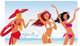 Beautiful sexy girls on the beach Stock Photography
