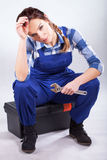 Beautiful sexy handywoman Stock Photography