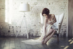 Beautiful sexy lady in elegant white dress Stock Images