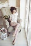 Beautiful sexy lady in elegant white panties and bra Stock Photo