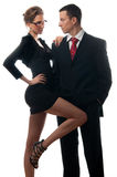 Beautiful lady seducing young businessman Royalty Free Stock Images