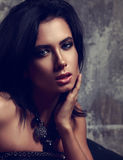 Beautiful sexy makeup woman with short black hair and fashion ne Royalty Free Stock Photography