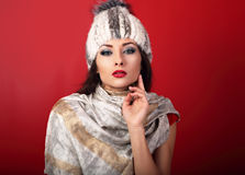 Beautiful sexy makeup woman in white fur winter hat and fashion Royalty Free Stock Images