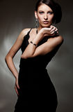 Beautiful sexy model in black dress Royalty Free Stock Images
