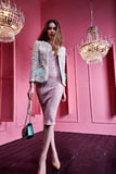 Beautiful sexy pretty face blond hair business woman fashion mod. El wear style clothes for office party casual elegant dress jacket accessory bag interior pink Stock Images