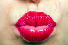 beautiful sexy red lips giving kiss Royalty Free Stock Photography