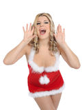 Beautiful santa clause christmas woman Stock Photo