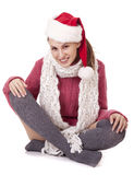Beautiful sexy santa clause woman in hat. On white background Royalty Free Stock Photography