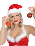 Beautiful santa clause woman in party red hat Royalty Free Stock Images