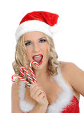 Beautiful sexy santa clause woman in party red hat Stock Photography
