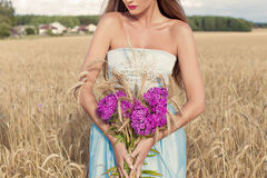 Beautiful sexy slim girl in a blue dress in the field with a bouquet of flowers and ears of corn in his hands at sunset on a sunny. Day Royalty Free Stock Photo