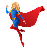 Beautiful sexy superhero woman flying and waving hand. Vector illustration. Royalty Free Stock Photography