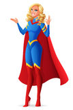 Beautiful sexy superhero woman showing OK sign gesture. Vector illustration. Stock Images