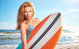 Beautiful sexy surfer girl Royalty Free Stock Photography