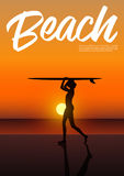 Beautiful sexy surfer girl in bikini holding surfboard above her head. Side view silhouette of beautiful sexy surfer girl in bikini holding surfboard above her Stock Image