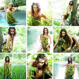 Beautiful, and wild girl posing in the jungle Stock Photography