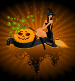 Beautiful sexy witch on a broom Stock Image