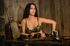 Beautiful sexy woman with army gun Stock Image