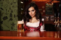 Beautiful sexy woman bartender posing in bar counter. Fashion interior photo of beautiful sexy woman bartender posing in bar counter with glass of beer Stock Photography