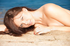 Beautiful sexy woman on the beach Royalty Free Stock Photos