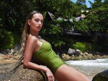 Beautiful sexy woman on a beach. Girl in bikini on island beach Royalty Free Stock Photos