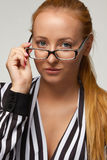 Beautiful sexy woman bisnesswoman silk blouse glasses for vision Stock Photo