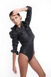 Beautiful woman in black body shirt Stock Images