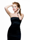 Beautiful  sexy  woman in black dress Royalty Free Stock Images