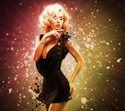 Beautiful woman in black dress royalty free stock photo