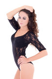 Beautiful sexy woman in black lace lingerie bodysuit isolated on Royalty Free Stock Photography