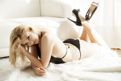 Beautiful and sexy woman in black lingerie Stock Images