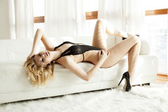 Beautiful and sexy woman in black lingerie Royalty Free Stock Image
