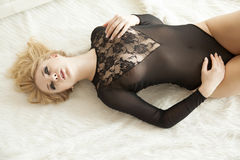 Beautiful and sexy woman in black lingerie Stock Image