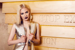 Beautiful sexy woman blond hair make up party coctail dress Royalty Free Stock Image