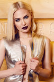 Beautiful sexy woman blond hair make up party coctail dress Royalty Free Stock Photo