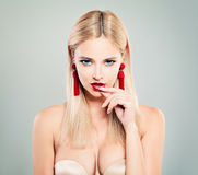 Beautiful Sexy Woman with Blonde Hair, Red Lips Makeup Royalty Free Stock Photography
